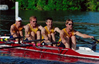 The same Grosvenor RC E 4x winning the semi-final at Henley Veterans Regatta in 2010