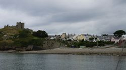View of Criccieth Castle from our anchorage in the morning. Lifeboat station is on extreme right of this picture.