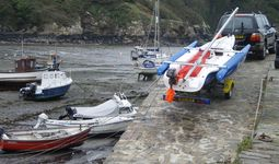 Typical narrow harbourside slipway at Fishguard.