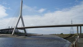The new Flintshire Bridge at Connah's Quay viewed from Shotton Wharfe.