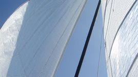 New Diax genoa, furled jib and main sail.