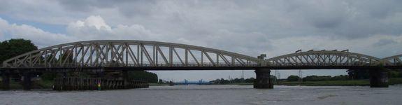 The no longer swinging Hawarden Railway Bridge.