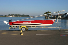 Magnum 18 trimaran on trailer.
