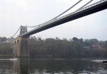 Passing under the centre of Telford's famous Menai Bridge
