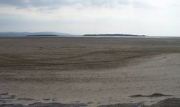 Middle Eye on the left and Hilbre Island or Hildeberg's Eyeland or Hilbreye on the right