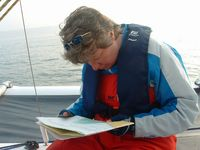 Jackie studies the chart of the NW entrance to the Menai Straits