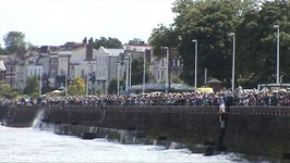 The promenade was packed to the gunwales with revellers to watch the Tall Ships depart.
