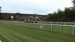 A race on the Roodee with Grosvenor Bridge in view.