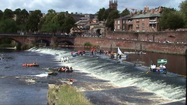 In the Chester Raft Race rafts have to go down the weir, through the Old Dee Bridge and back up again!