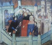 In this 15th Century illustration of the event at Flint castle King Richard II is shown in the red cloak with Duke Henry bowing before him.