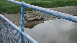 The steps for the old Saltney Ferry viewed from the new, ugly footbridge.
