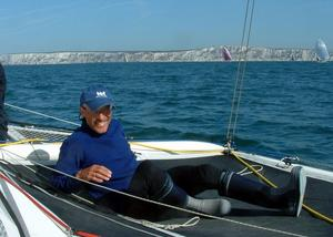 Skipper relaxes as the big monohulls catch us up