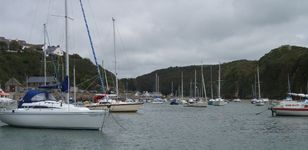 The welcoming view of the Harbour at Solva with the Sailing Club on the left.