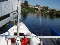 St Pauls Church on the River Dee from Magnum 21 trimaran.