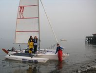 The crew, Steve, Irene, Jackie, the Magnum 21 trimaran, Beaumaris Pier