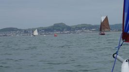 In the buoyed channel approaching Deganwy. We caught these boats up.