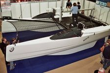 Visitors to the London International Boat Show were all over the new V8 catamaran from VirusBoats the whole time.