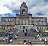 When the Tall Ships left Liverpool the steps of Wallasey TownHall were thronged with onlookers.  Here they are only just beginning to assemble.  The steps were full later.