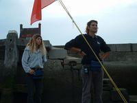 Young assistant harbourmaster with his adoring girlfriend.