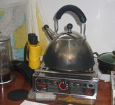 Never use lamp oil in a spirit cooker. Yellow flames produce soot!